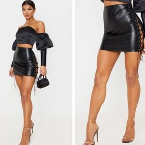 Faux Leather Lace Up Skirt